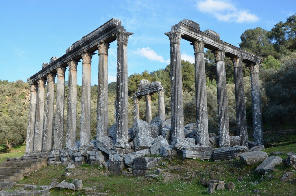 Temple of Zeus Lepsynus, built in the 2nd century AD on the site of an earlier Carian temple, Euromos, Turkey