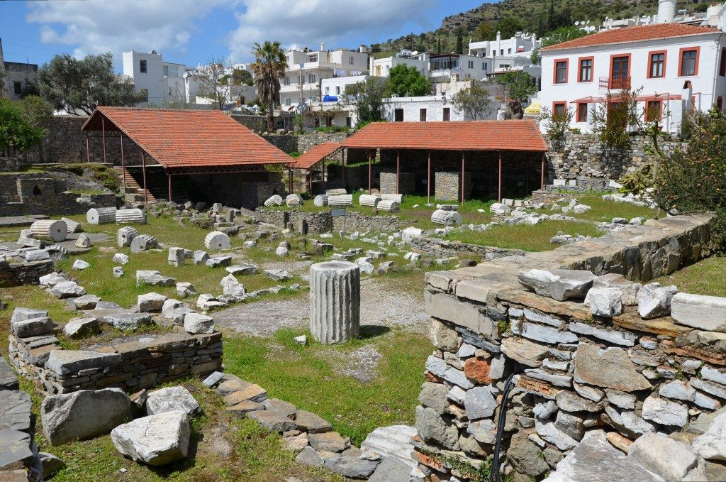The ruins of the Mausoleum of Halicarnassus, constructed for King Mausolus during the mid-4th century BC at Halicarnassus in Caria.