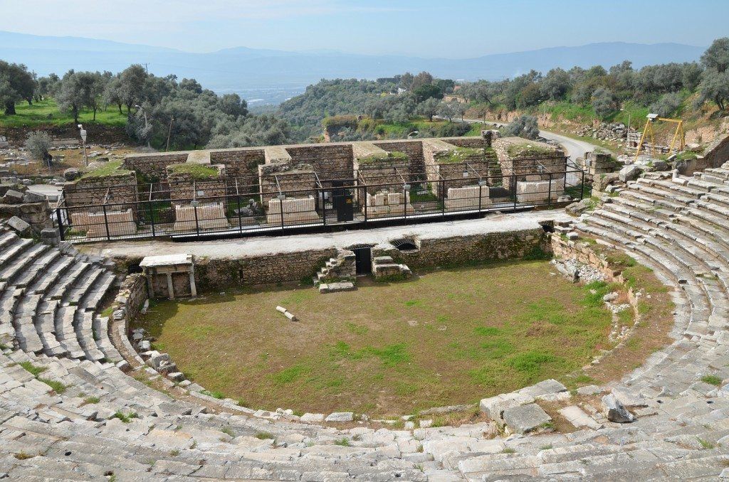 The theatre of Nysa, first built in the Late Hellenistic period but the current architectural features date to the 2nd century AD.