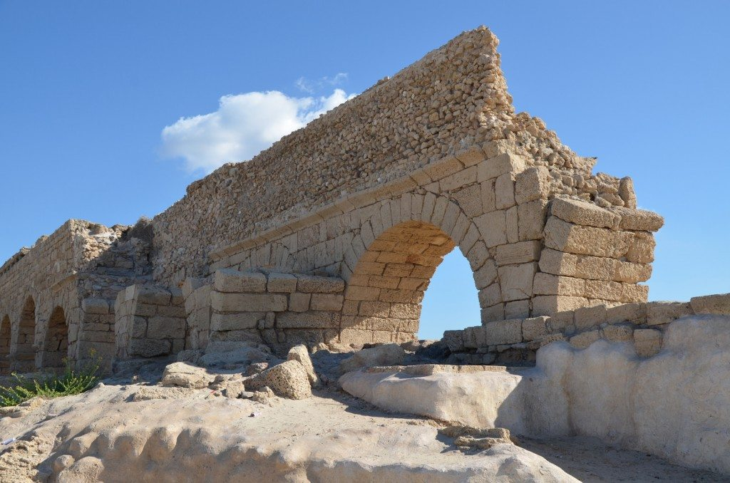 A portion of the high level aqueduct of Caesarea showing the two stages of construction (Herod & Hadrian), Caesarea Maritima, Israel