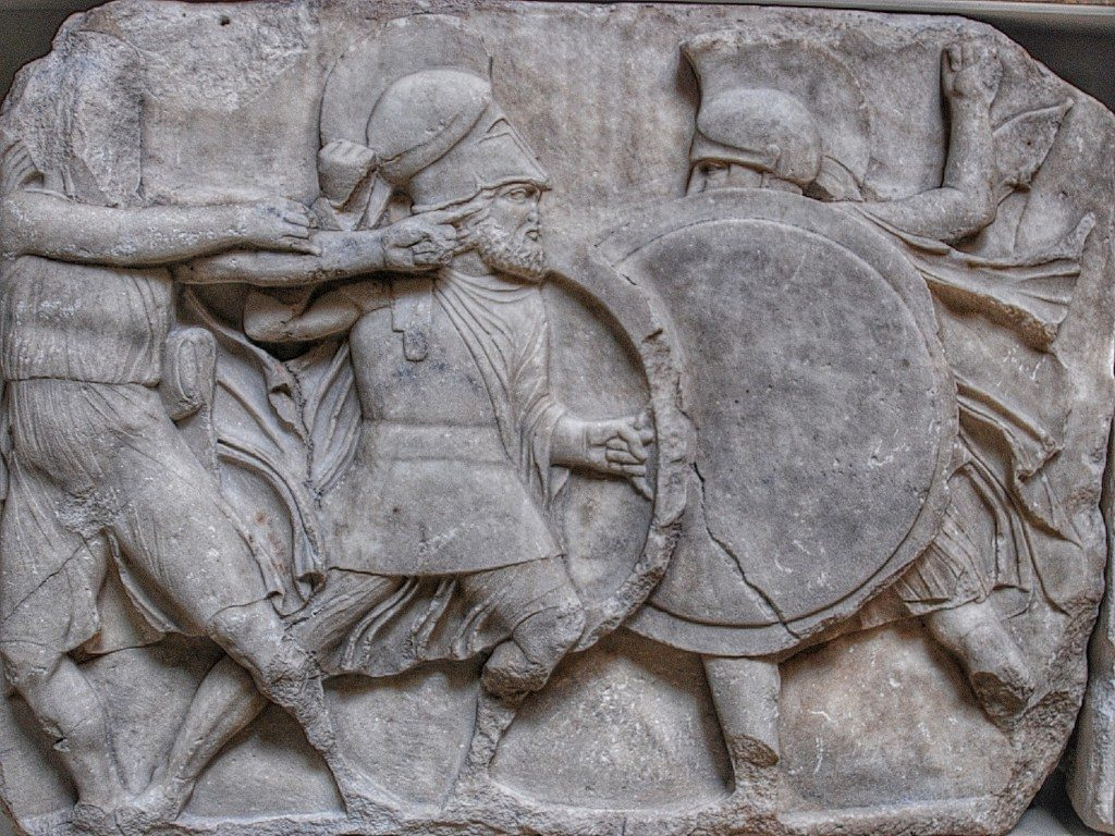 Frieze of Greek hoplites fighting, from Nereid Monument at Xanthos in Lycia, ca. 390–380 BCE. On display at the British Museum, London.