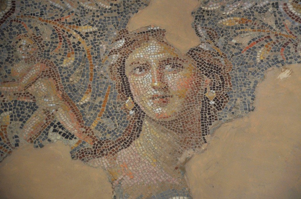 The Mona Lisa of the Galilee (possibly Venus), part of the Dionysus mosaic floor in Sepphoris (Diocaesarea), Israel