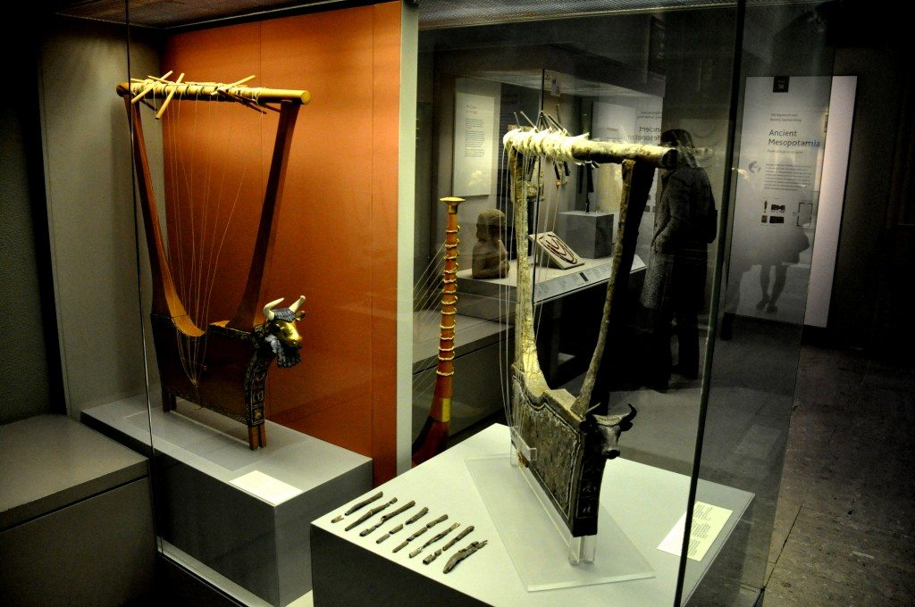 "These lyres were found in queen Pu-Abi's grave, inside the ""Great Death-Pit"", one of the graves in the Royal Cemetery at Ur. From Ur, southern , Iraq. Early dynastic period, 2600-2400 BCE. The British Museum, London. Photo © Osama Shukir Muhammed Amin"