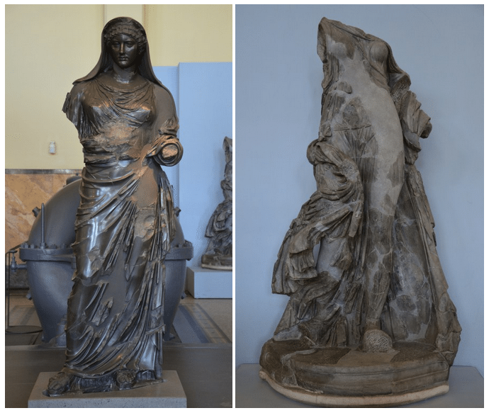 Basanite statue of Agrippina the Younger & statue in made in dark grey marble known as the Victory of the Symmachi, probably representing a dancing woman. Rome museum. Photo © Carole Raddato.