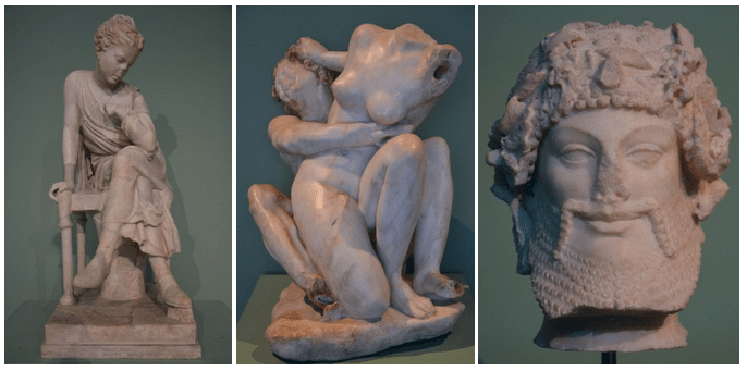 Seated girl / Group with Satyr and a Nymph / Head of Priapus, Centrale Montemartini, Rome museum. Photo © Carole Raddato.
