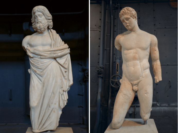 Statuette of Asklepios, small-scale copy after a 5th century BC original attributed to Phidias or Alkamenes & Discophoros (disk-bearer), Roman copy of a Greek original of the late Classical period attributed to Naukydes of Argos, Centrale Montemartini, Rome museum. Photo © Carole Raddato.