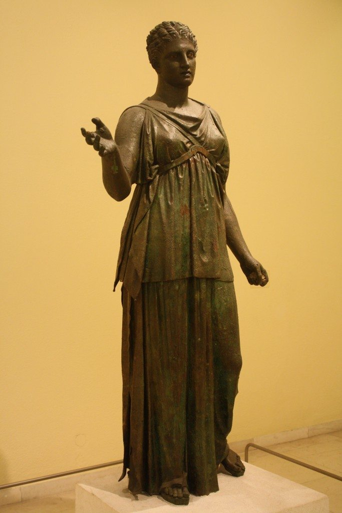 A bronze statue of Artemis attributed to the sculptor Euphranor, mid-4th century BCE.