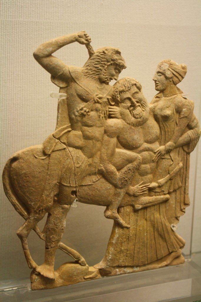 The 'Melian' relief of Hercules killing the centaur Nessos. 5th century BCE.