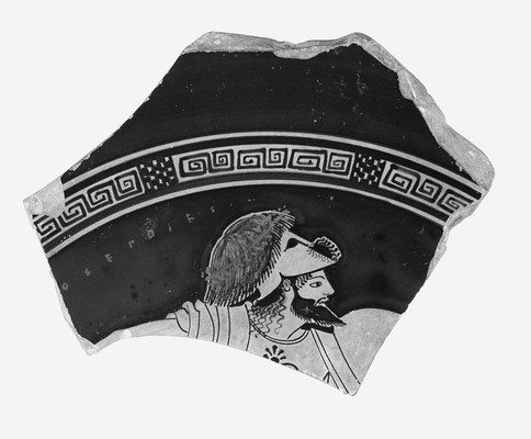 Attic Red-Figured Cup or Bowl Fragment with Warrior Wearing Scalp of Enemy on Helmet, 500–490 BCE. Attributed to Onesimos as painter (active ca. 505–480 BCE). Signed by Euphronios as potter (active 520–470 BCE). The J. Paul Getty Museum (86.AE.311).