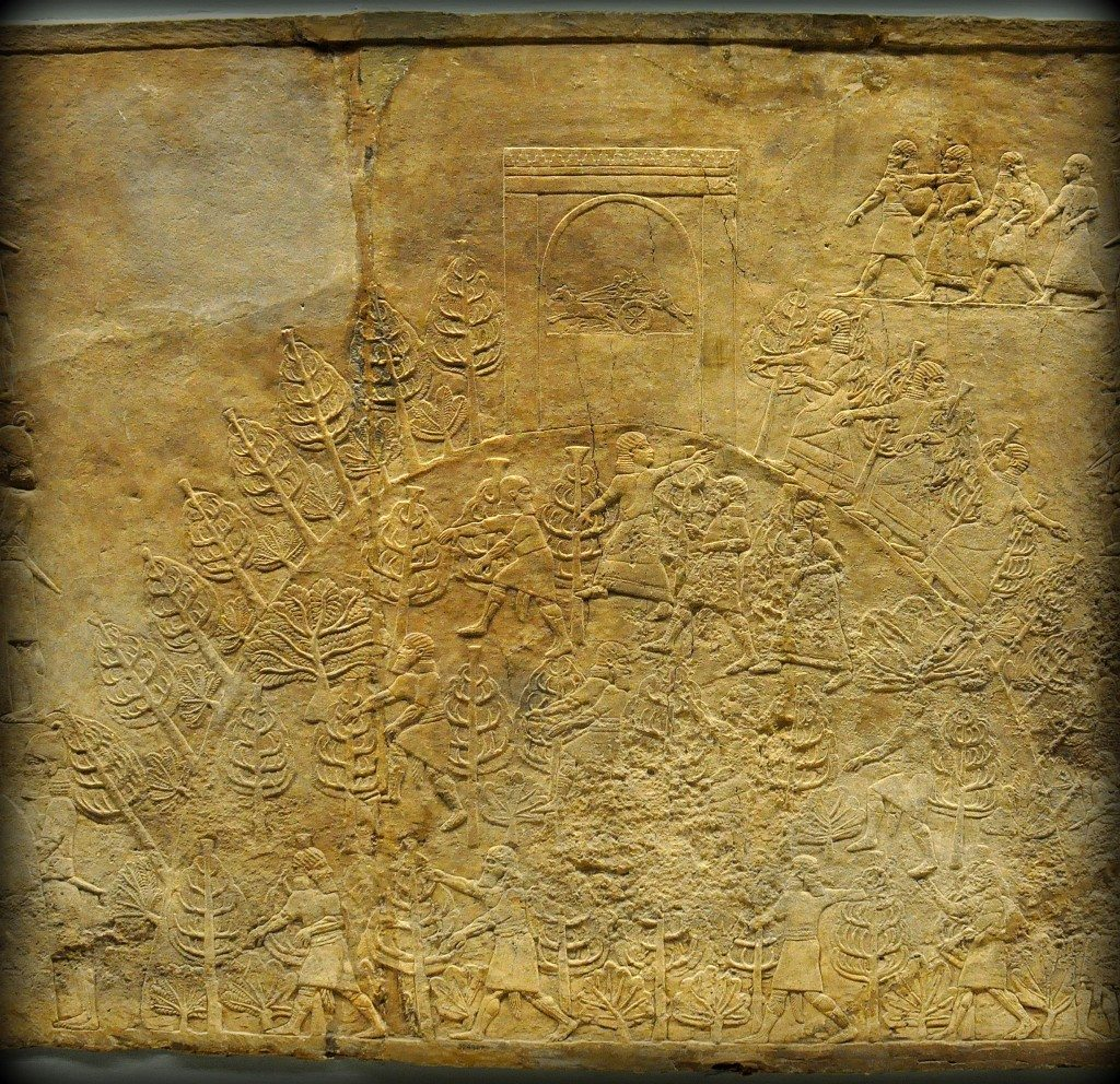 Assyrian Lion. This alabaster bas-relief depicts Assyrians climbing a hill. People seem to rush up a wooden knoll, either in fright to get a better view. The hill is crowned by a building, monument, or stela which is decorated with another picture of the royal hunt scene. From Room C of the North Palace, Nineveh (modern-day Kouyunjik, Mosul Governorate), Mesopotamia, Iraq. Circa 645-535 BCE. The British Museum, London. Photo©Osama S.M. Amin.