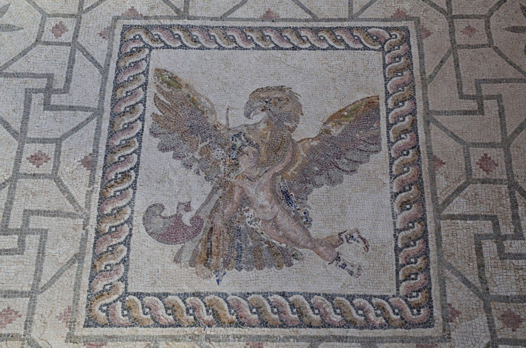 The Rape of Ganymede mosaic in the House of Dionysus, the god Zeus having transformed into an eagle carries Ganymede away, late 2nd / early 3rd century AD, Paphos Archaeological Park