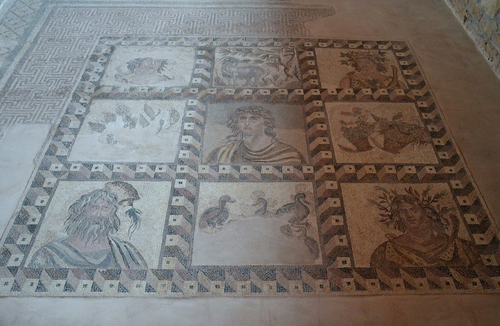 The Four Seasons mosaic in the House of Dionysus, first half of the 3rd century AD, the seasons are represented in each of the four corners, Paphos Archaeological Park