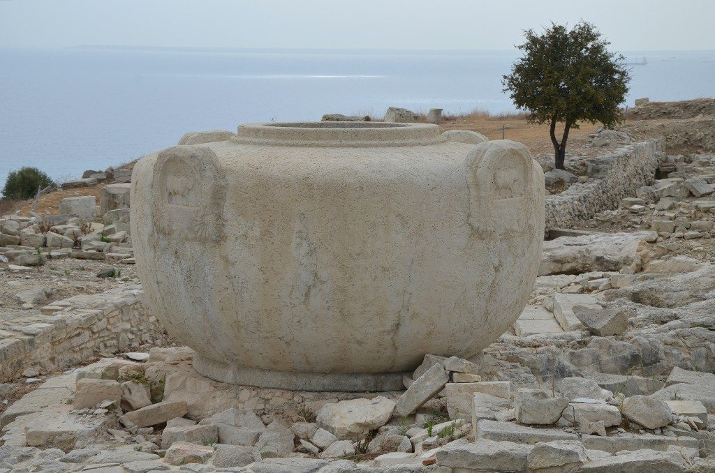 Copy of one of the monumental vases used as water containers for the religious rituals, Acropolis and the Temple of Aphrodite dating approximately to the 1st century BC, Amathous