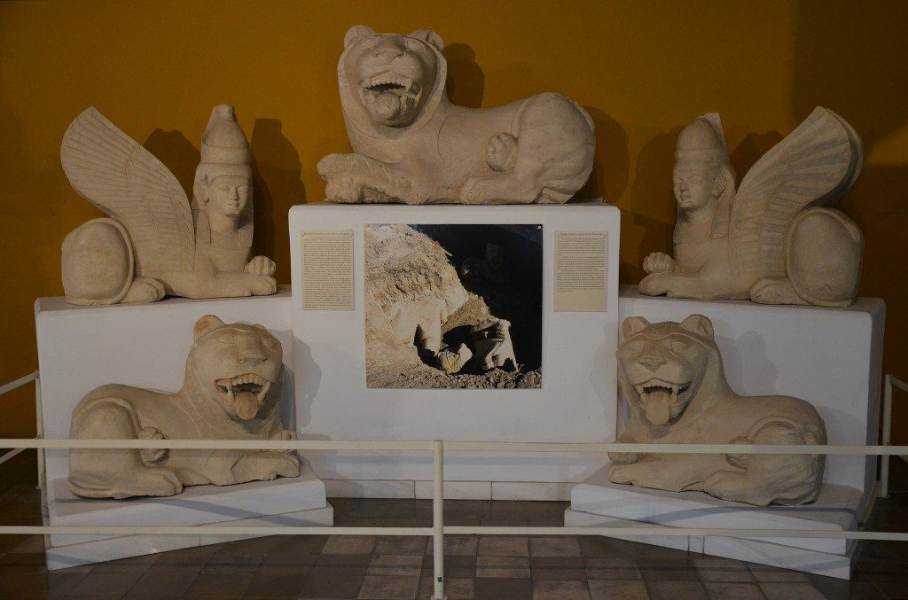 Small lion, part of the unique archaic sculptures found in situ in the necropolis of Talmassos, one oversize lion, two lions of smaller dimensions and two sphinxes, 6th century AD, Cypro-Archaic II period, Cyprus Museum, Nicosia