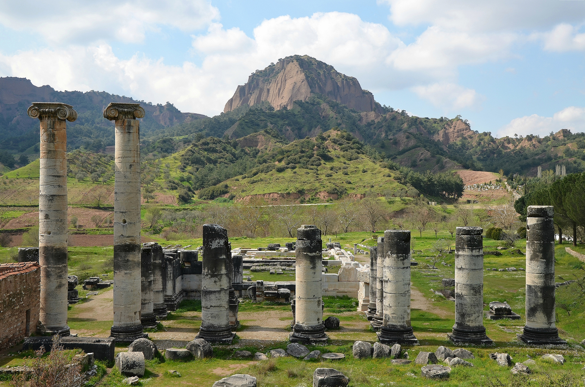 The ruins of the Temple of  Artemis in  Sardis in  Lydia (modern-day western  Turkey), originally built by the Greeks in 300 BCE and later renovated by the Romans in the 2nd century CE. The Temple of Artemis in Sardis was the fourth largest Ionic temple in the ancient world. Photo © Carole Raddato.