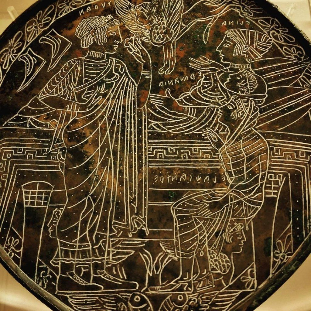 "Etruscan mirror, c. 475-450 BCE. The inscription says: ""Turan Elena Hermione Alexander."" Seen during our Rome visit."