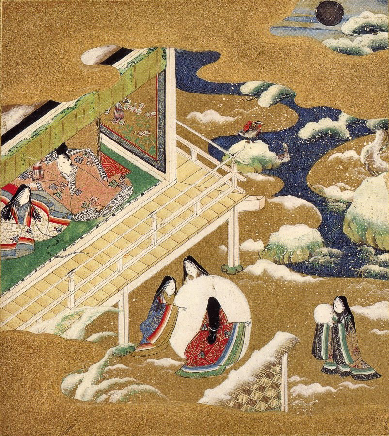 """Frustration of the The Tale of Genji, ch.20 – """"Asagao,"""" traditionally credited to Tosa Mitsuoki (1617-1691 CE), part of the Burke Albums, property of Mary Griggs Burke. (Public Domain.)"""