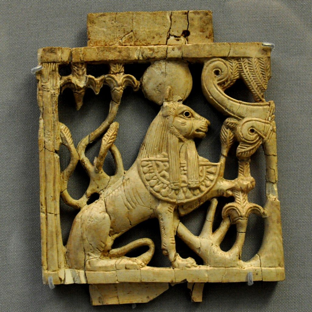 "This ivory plaque is part of the so-called ""Nimrud Ivories."" The sphinx wears the typical Egyptian Pharaohs' double crown and an apron with cobra. This indicates that the plaque was made by a Phoenician craftsman. From Nimrud (ancient Kalhu) northern Mesopotamia, Iraq. Neo-Assyrian period, 911-612 BCE. (The British Museum, London)."