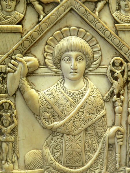 Flavius Anastasius Paulus Probus Sabinianus Pompeius (consul 517 CE) in consular garb, holding a sceptre and the mappa, a piece of cloth used to signal the start of chariot races at the Hippodrome. Ivory panel from his consular diptych.