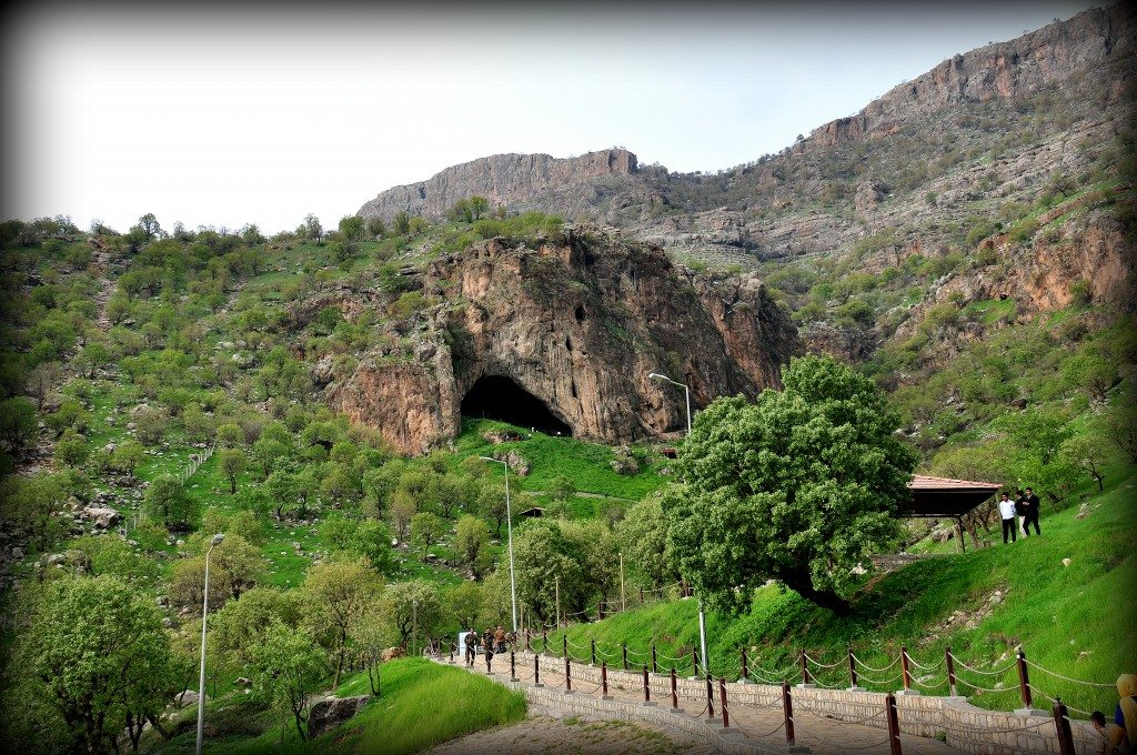 Shanidar Cave. The caves and its surrounding area has been renovated by the Kurdistan-United Kingdom Friendship Association. Tourists have an easy access to the cave. Photo © Osama S. M. Amin.