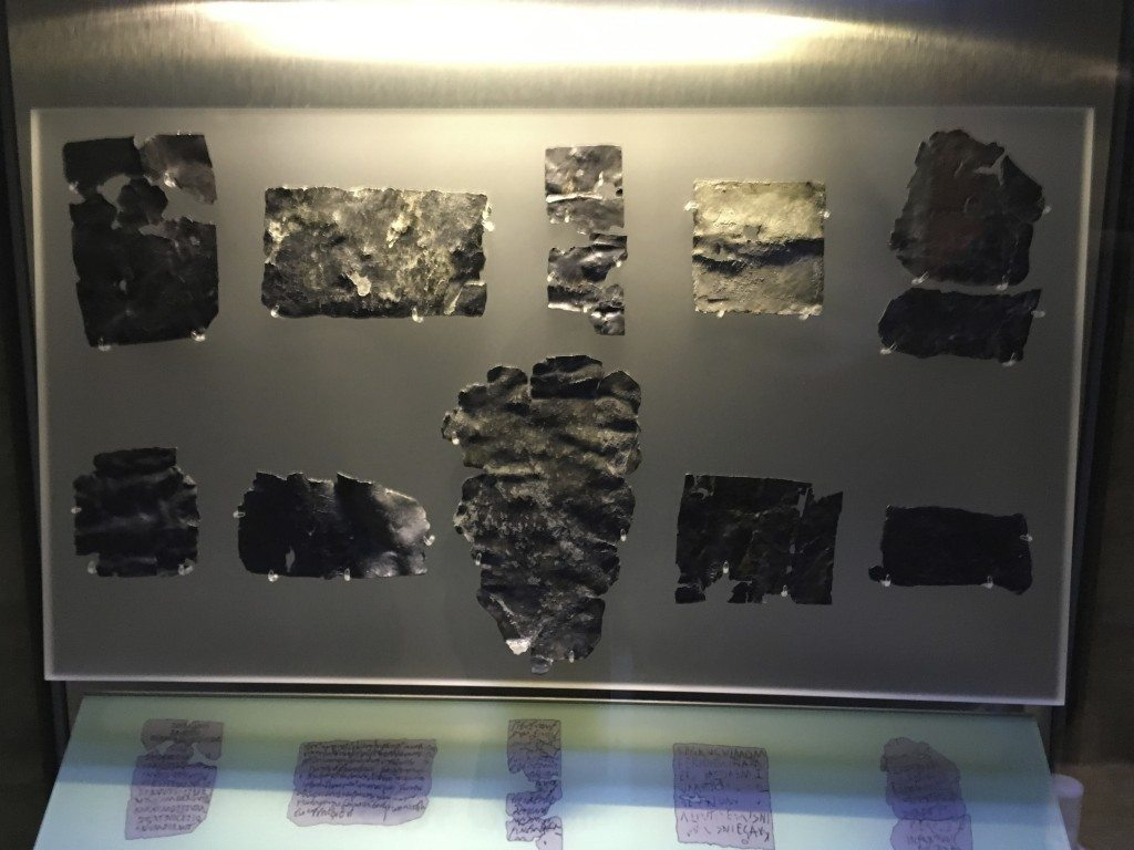 Lead curse tablets that were thrown into the baths. Image © Caroline Cervera.