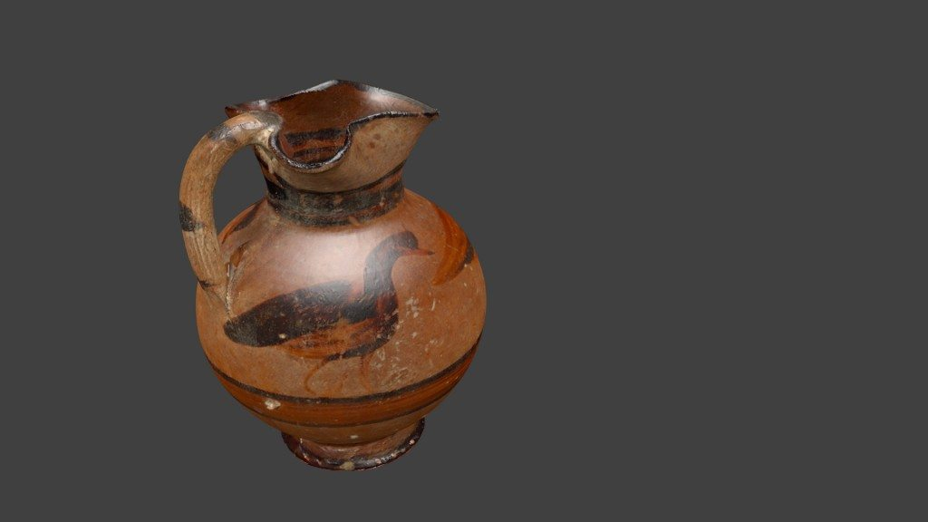 A 3D model of an East Greek wine jug made via 3D scanning. Image © Ure Museum.