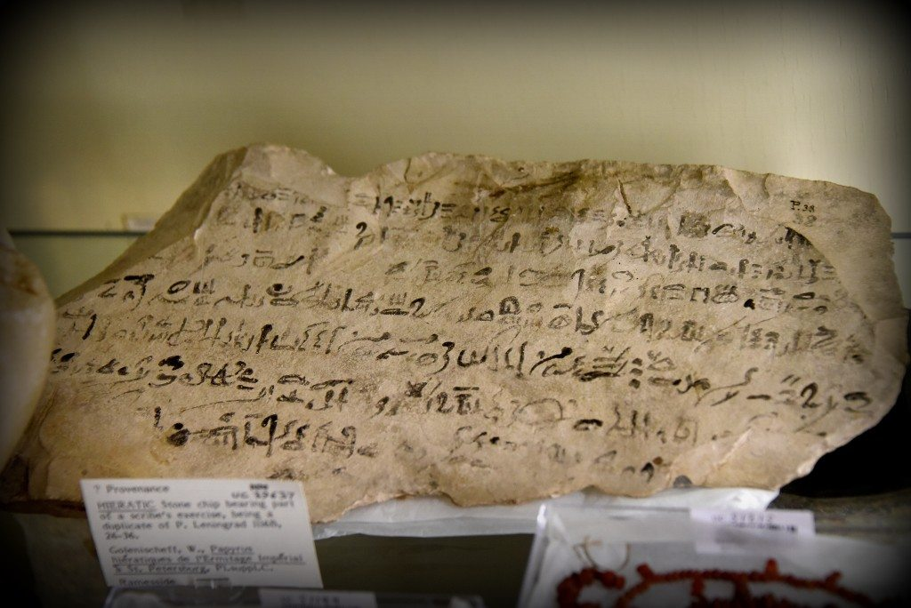 "This is a limestone ostracon which bears on one side parts of 8 lines of hieratic inscriptions (in black), giving part of the ""Prophecy of Neferty"". At the center top, one area seems to have flaked off and then been re-attached in more recent times. At bottom right a sign has been written over the edge; the reed slipping onto the underside. From Egypt. Ramesside period, 1292–1069 BCE. With thanks to the Petrie Museum of Egyptian Archaeology, UCL. Photo © Osama S. M. Amin."