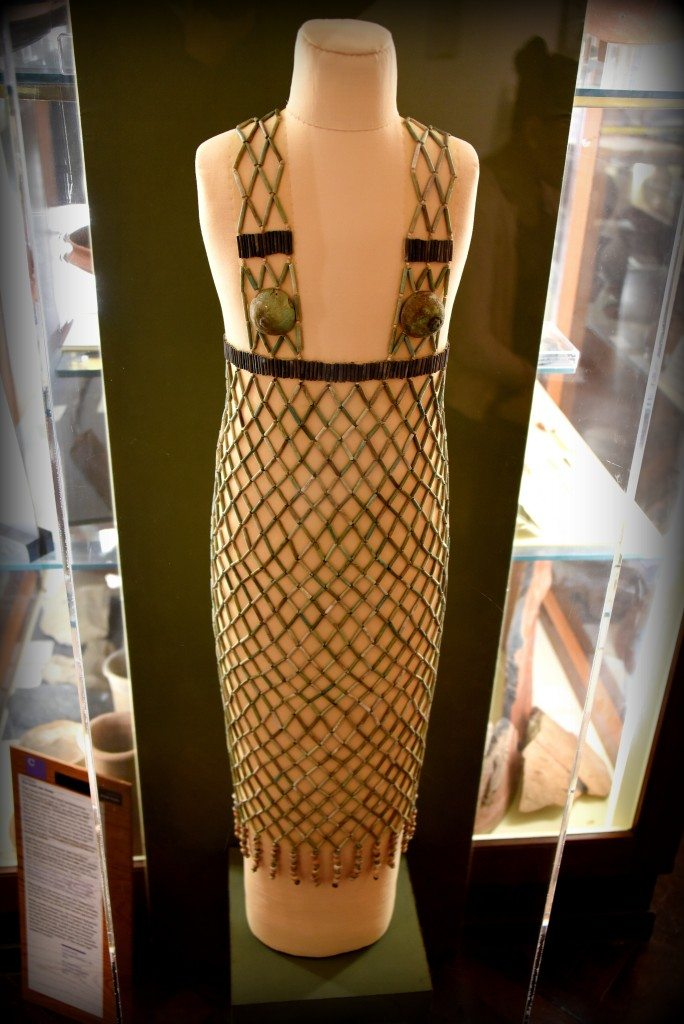 The bead net dress, one of the masterpieces of the Museum. From Qau, Egypt. 5th Dynasty, 2498–2345 BCE. With thanks to the Petrie Museum of Egyptian Archaeology. Photo © Osama S. M. Amin.