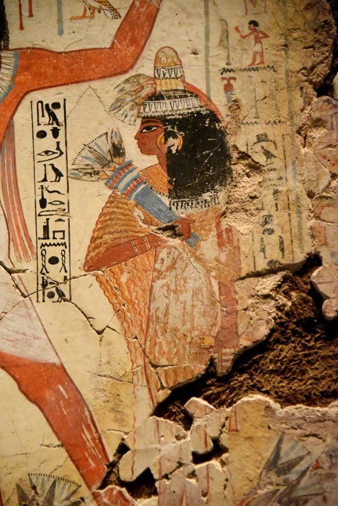 Nebamun's wife, Hutshepsut, stands behind him. The British Museum, London,. Photo © Osama S. M. Amin.