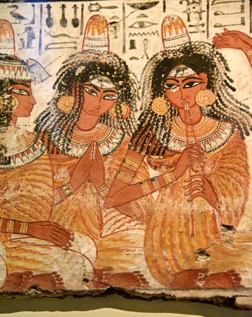 Some of the musicians look out of the painings showing their dfaces full on. This is very unusual in Egyptian art and gives the sens of liveliness to these lower class women who are less formally drawn than the wealthy guests. The young dancers are fluidly drawn and are naked apart from jewllery. The British Museum, London. Photo © Osama S. M. Amin. Photo © Osama S. M. Amin. Nebamun tomb-chapel.