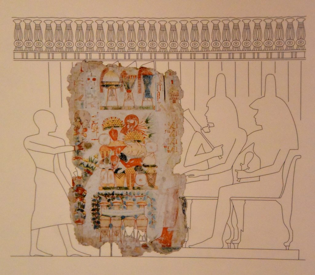 Reconstruction of the wall scene. Drawing by C. Thorne and R. B. Parkisnon. The Brtitish Museum, London. Photographed and © Osama S. M. Amin. Nebamun tomb-chapel.
