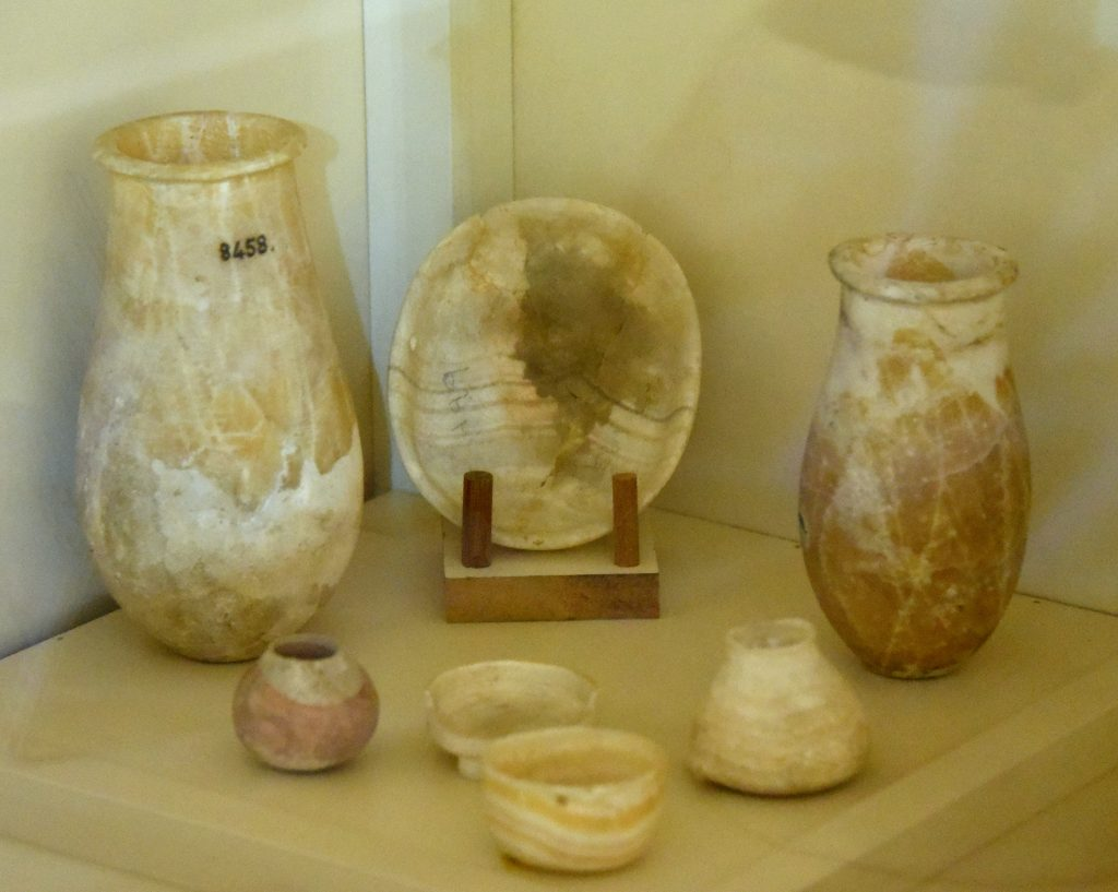 A group of marble bowls and jars. From Mesopotamia, modern-day Iraq; precise provenance of excavation is unknown. Samara period, circa 5000 BCE. Erbil Civilization Museum, Iraqi Kurdistan. Photo © Osama S. M. Amin.