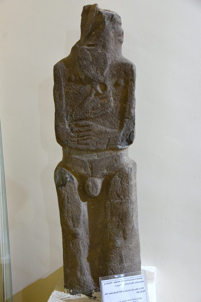 Sandstone statue of an unknown standing and naked man or deity. From modern-day southern Kurdistan, Iraq; precise provenance of excavation is unknown. Urartian period, mid-first millennium BCE. Erbil Civilization Museum, Iraqi Kurdistan. Photo © Osama S. M. Amin.