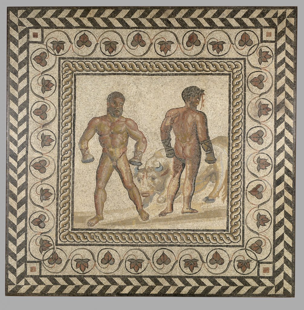 Combat between Dares and Entellus. Gallo-Roman, from Villelaure, France, A.D. 175 – 200. Stone and glass. 81 7/8 x 81 7/8 in. The J. Paul Getty Museum, Villa Collection, Malibu, California.