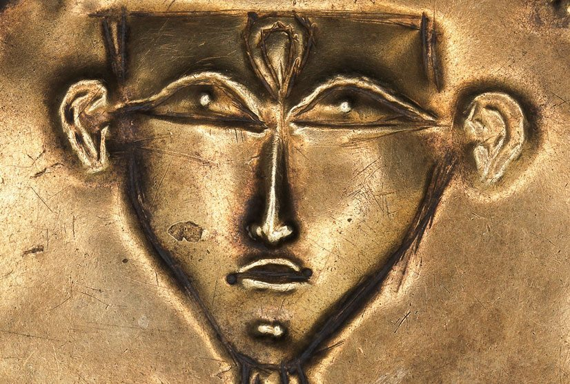 Canaanite amulet of a schematic nude goddess in Egyptian style Tell el-Ajjul, 15th century BCE, gold Collection of Israel Antiquities Authority Photo © The Israel Museum, Jerusalem, by Elie Posner.