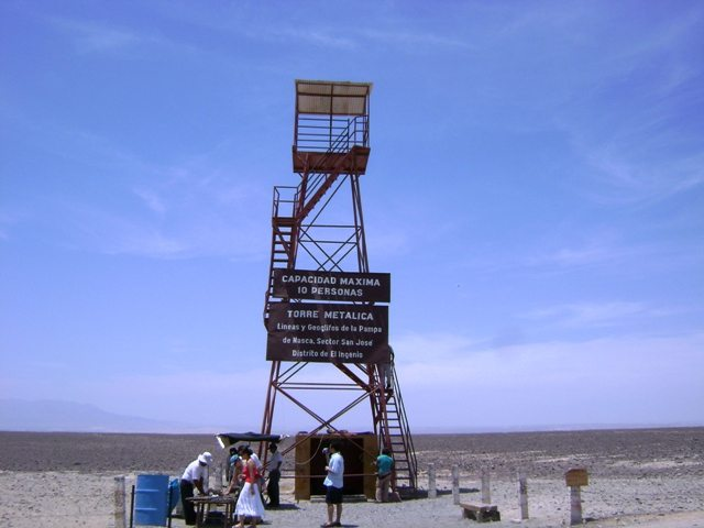 The lone mirador in the desert used to view the Nazca lines. Image © Caroline Cervera.