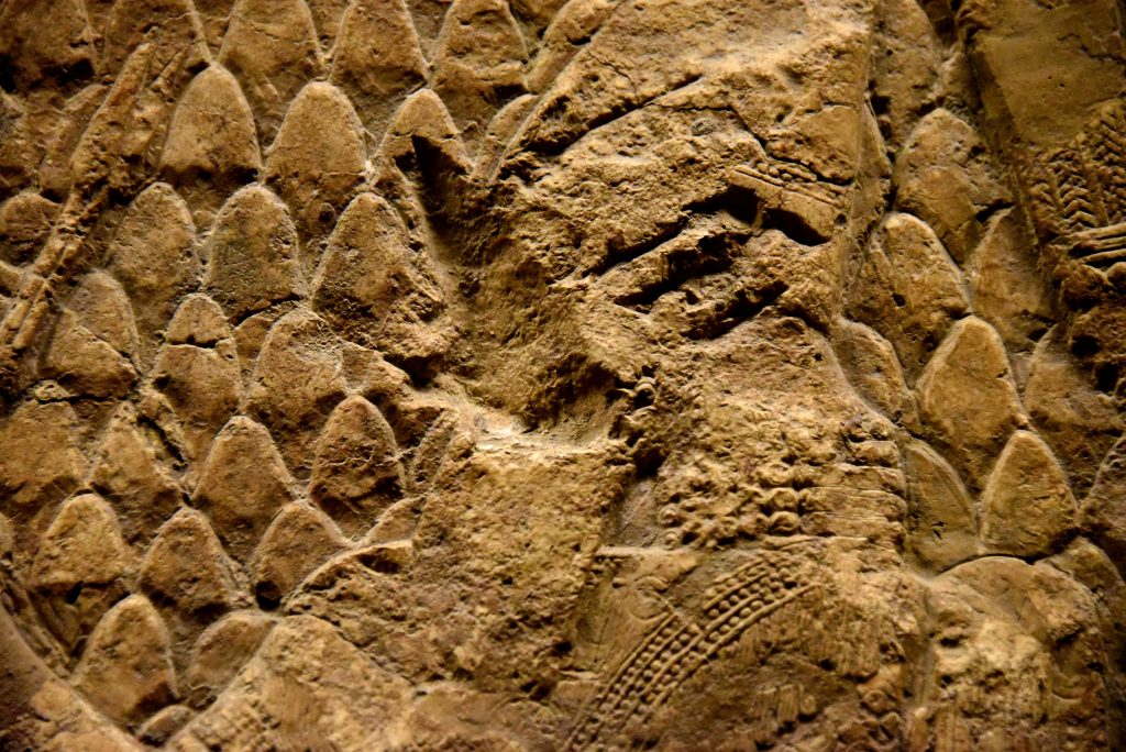 Sennacherib's head was deliberately damaged by an enemy soldier after the fall of Nineveh in 612 BCE; this is the only figure among all figures depicted on the Lachish's reliefs who was vandalized. Note that the head cap had received 5 hits by a sharp object while the King's face was slashed by a large thrust; the latter had virtually erased the King's eyes, nose, and mouth. From Nineveh (modern-day Mosul Governorate, Iraq), Room XXXVI of the South-West Palace, panels 11-13. The British Museum, London. Photo © Osama S. M. Amin.