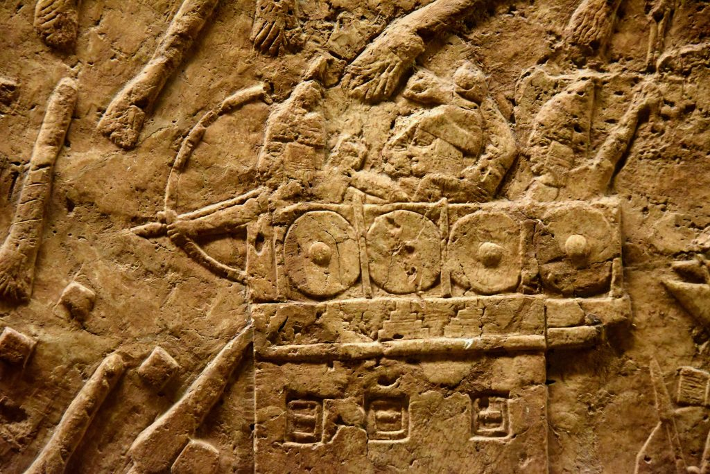 The defenders, Jewish soldiers, posisioned on one of the city wall's towers, trying to ward off the Assyrians. A solider is throwing an arrow while his companions are throwing stones. The surrounding environment had been bombarded with Assyrian fire torches. From Nineveh (modern-day Mosul Governorate, Iraq), Room XXXVI of the South-West Palace, panels 7. The British Museum, London. Photo © Osama S. M. Amin.