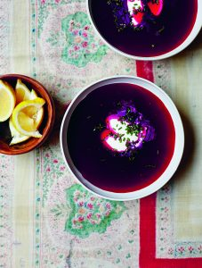 Summer Borscht with Sour Cream and Chives.