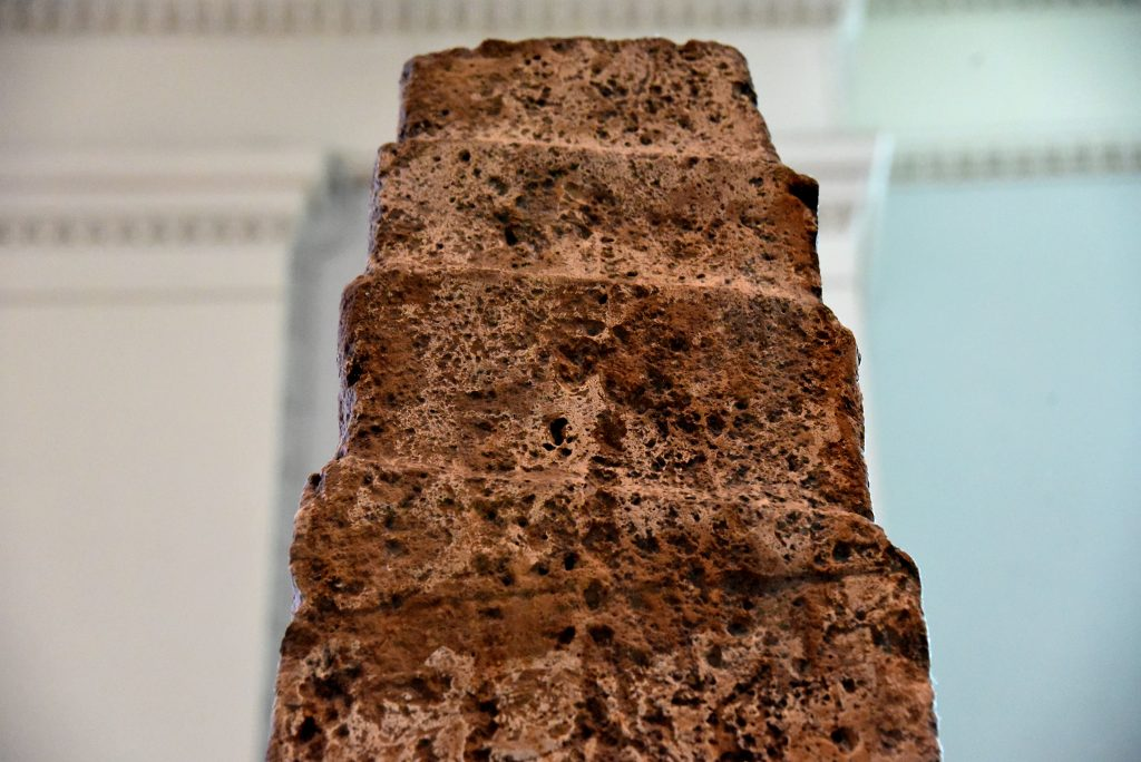 Top of side B, which does not contain any cuneiform inscription. Detail of the White Obelisk of Ashurnasirpal I. Assyrian, probably about 1050 BCE. From Mesopotamia, Nineveh (modern-day Mosul Governorate, Iraq), between the palace of Sennacherib and the Ishtar temple. The British Museum, London. Photo © Osama S. M. Amin.