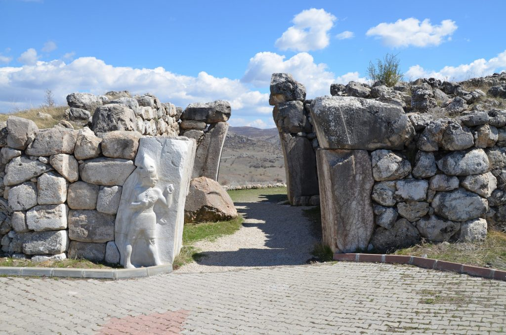 The King's Gate situated at the southeast of the city fortifications with a sculpture of the God of War in high relief measuring 2.25m in height. The original Hittite relief can be seen today in the Museum of Ancient Civilizations in Ankara.