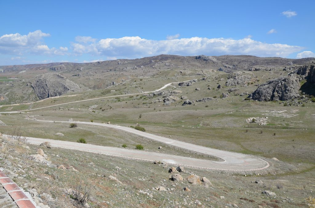 The asphalt road leading to the Hittite Upper City of Hattusa.